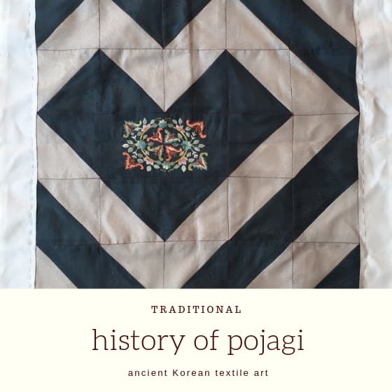 "pojagi with heart shaped patchwork and title ""History of pojagi""."