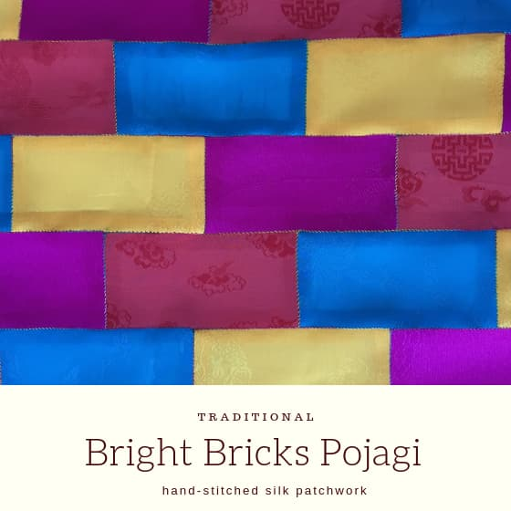 "patchwork with title ""bright bricks pojagi""."