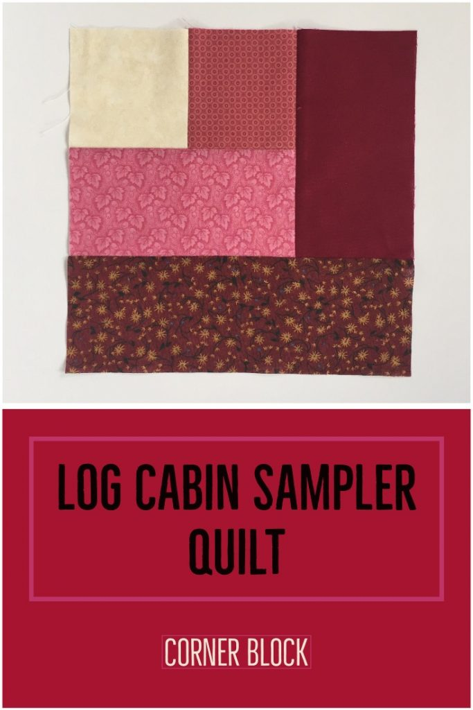 "corner quilt block made with red and white fabric with title ""log cabin sampler quilt - corner block""."