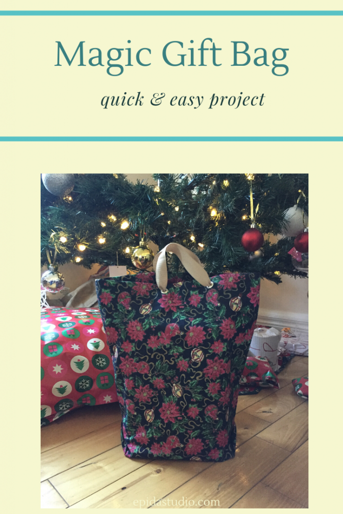 "bag under a Christmas tree with title ""Magic Gift Bag""."
