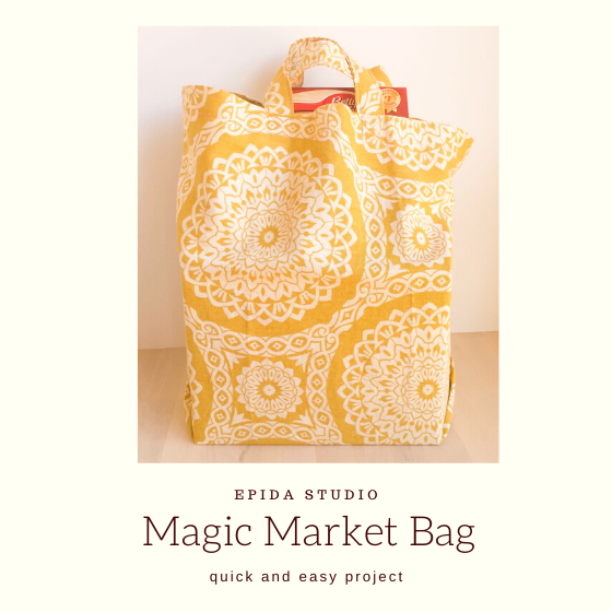 "yellow shopping bag with groceries and title ""Magic Market Bag"""