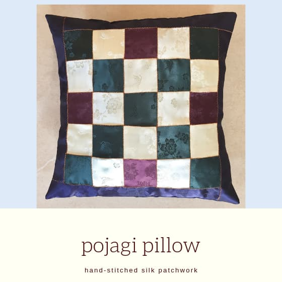patchwork pillow with title
