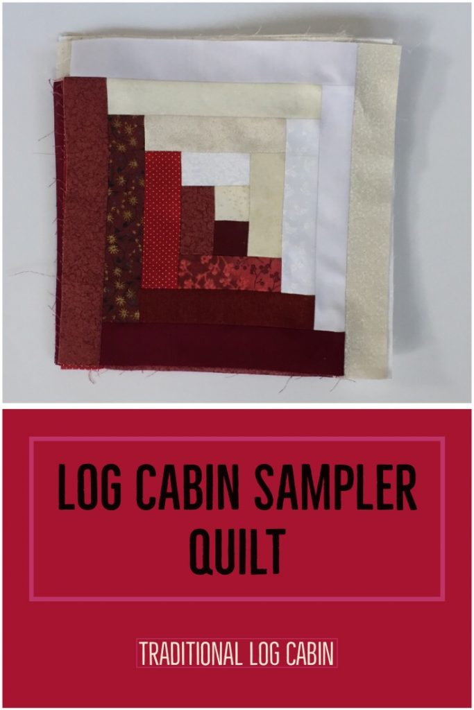 "red and white quilt block with title ""Log Cabin Sampler Quilt - Traditional Log Cabin"""