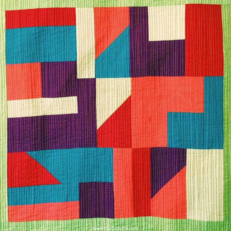 Pojagi Inspirations quilt block in bright primary colours.