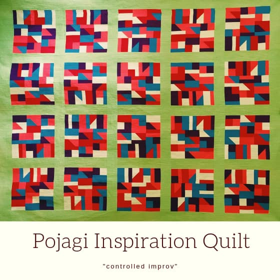 "Geometric quilt in primary colours with title ""Pojagi Inspiration Quilt""."