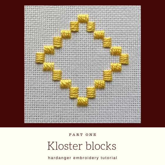 "yellow embroidery with title ""Kloster blocks hardanger embroidery tutorial""."