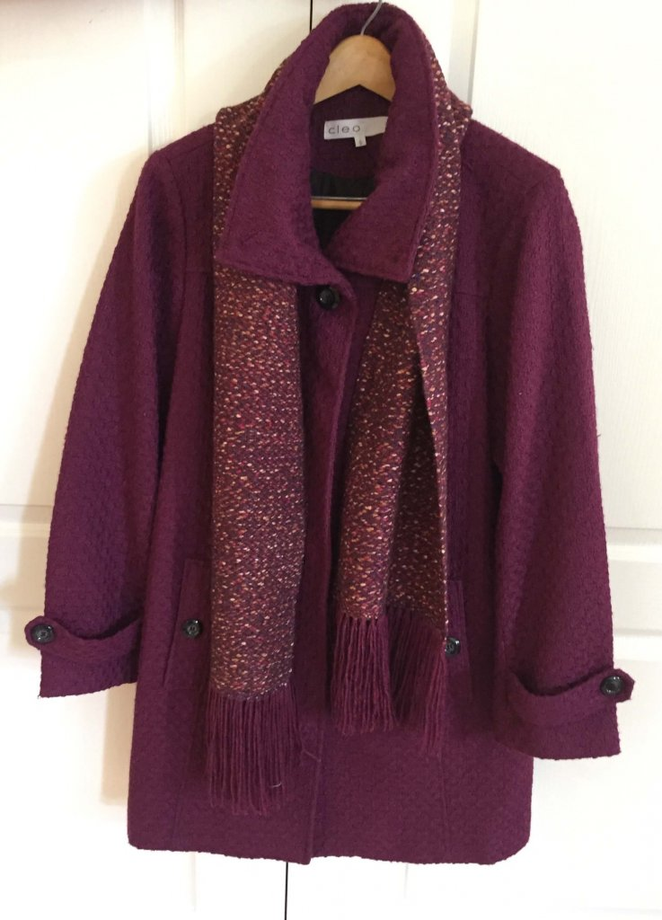 purple woven scarf with coat