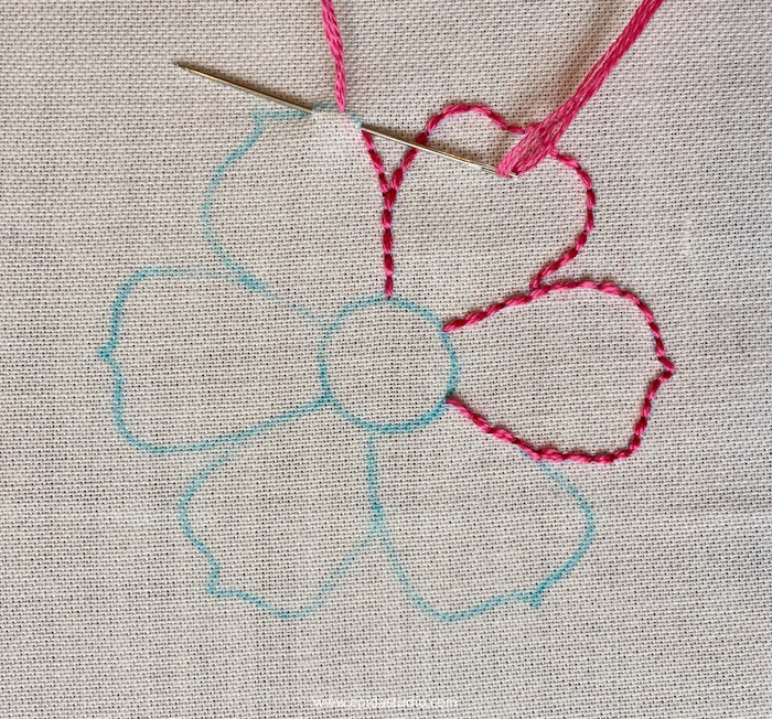 flower motif embroidered with backstitch