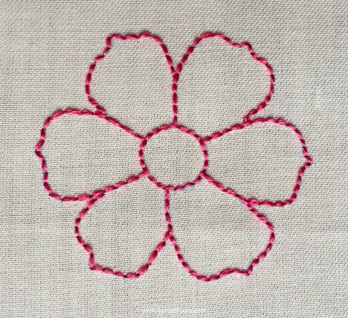 flower motif embroidered with back stitch