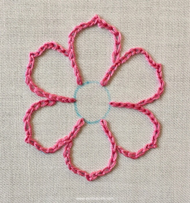 flower embroidered with chain stitch