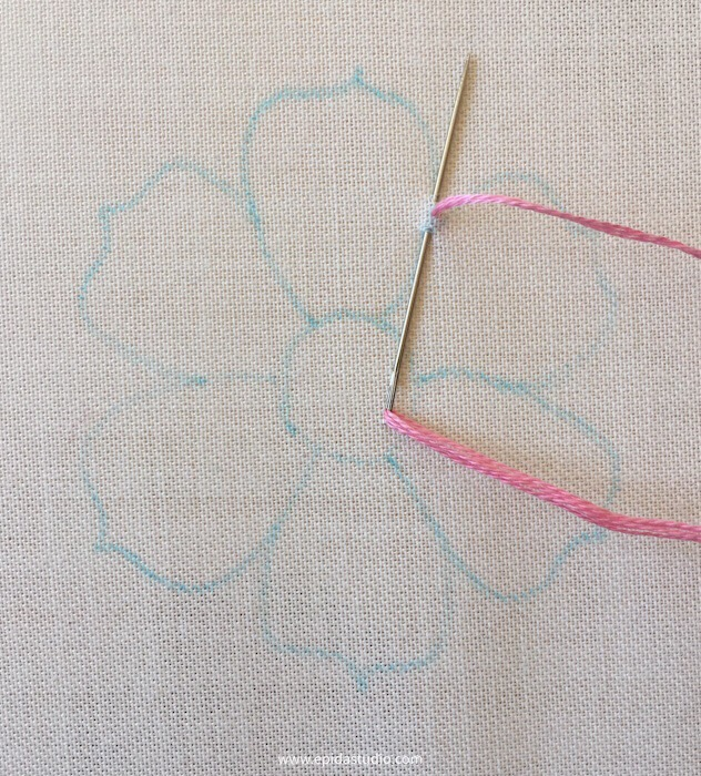 stitching stem stitch with pink floss