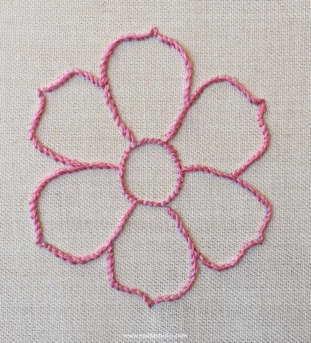 flower motif embroidered with stem stitch