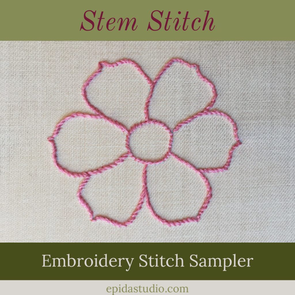 pink embroidered flower using stem stitch in the embroidery stitch sampler