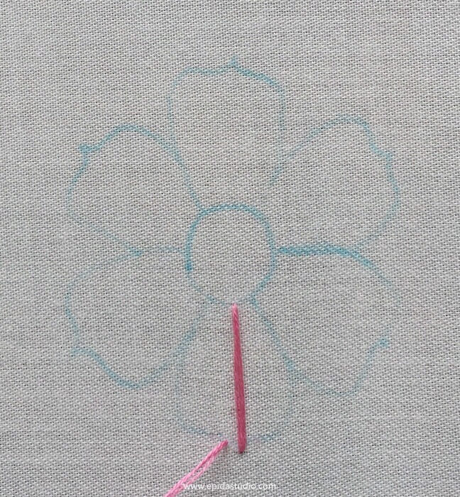 flower embroidery in progress