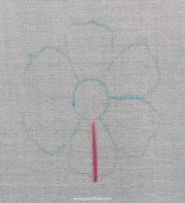 first stitch of flower embroidery