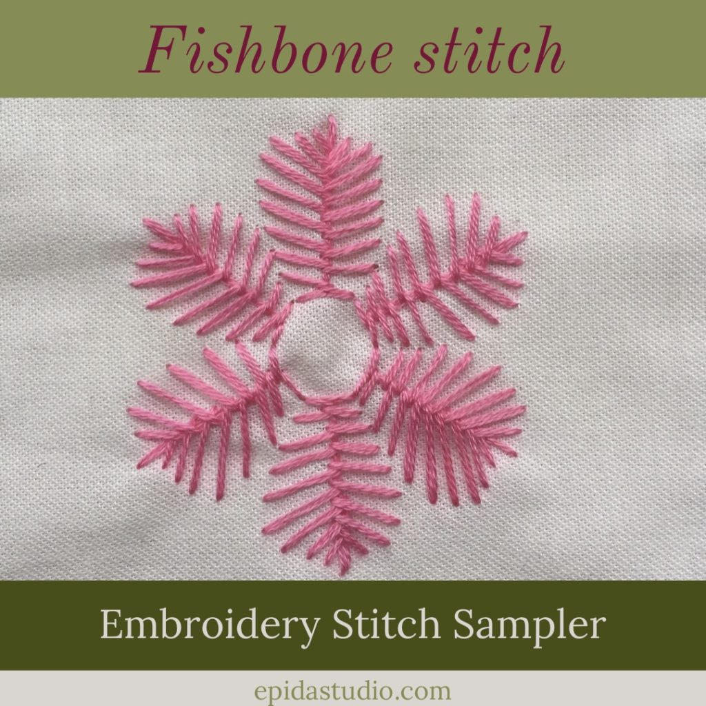 flower embroidered with pink floss and fishbone stitch