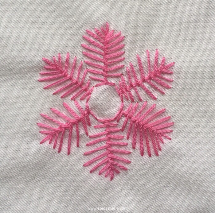fishbone stitch used in a flower