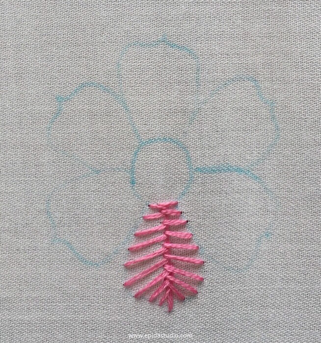 flower with one petal stitched