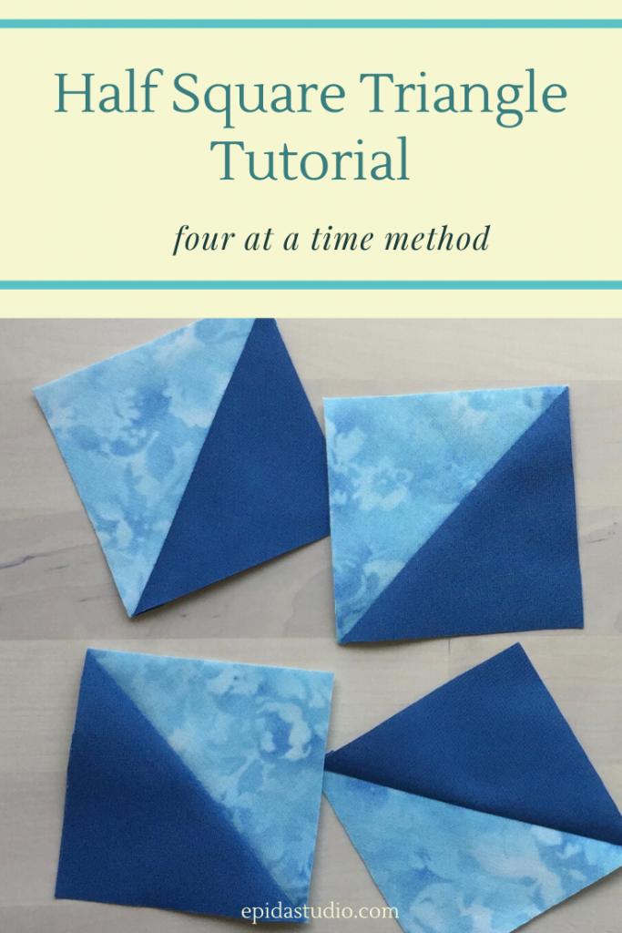 "blue fabric pieced triangles with title ""half square triangles""."