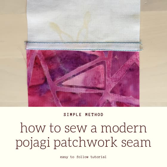 "sample seam with title ""how to sew a modern pojagi patchwork seam"""