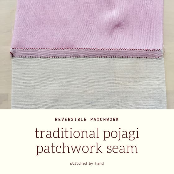 "sample seam with title ""traditional pojagi patchwrok seam"""