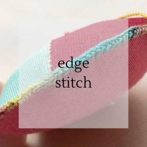"colourful stitching with title ""edge stitch""."
