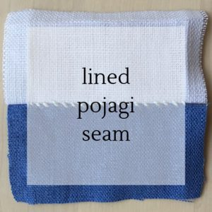"close up of stitching with title ""lined pojagi seam""."