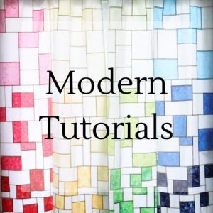 "pojagi window coverings with text overlay ""modern tutorials""."