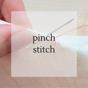 "hand holding stitching with title ""pinch stitch""."