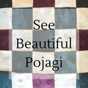 "patchwork with text overlay ""see beautiful pojagi"""