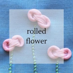 "fabric flowers with title ""rolled flower""."