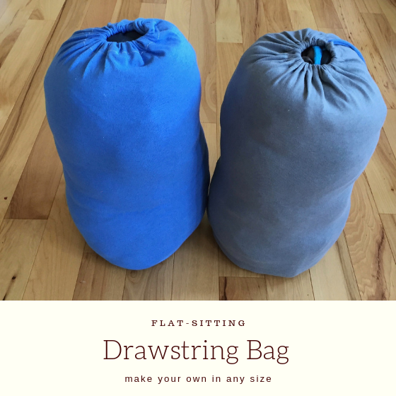 "two large bags with title ""flat sitting drawstring bag""."