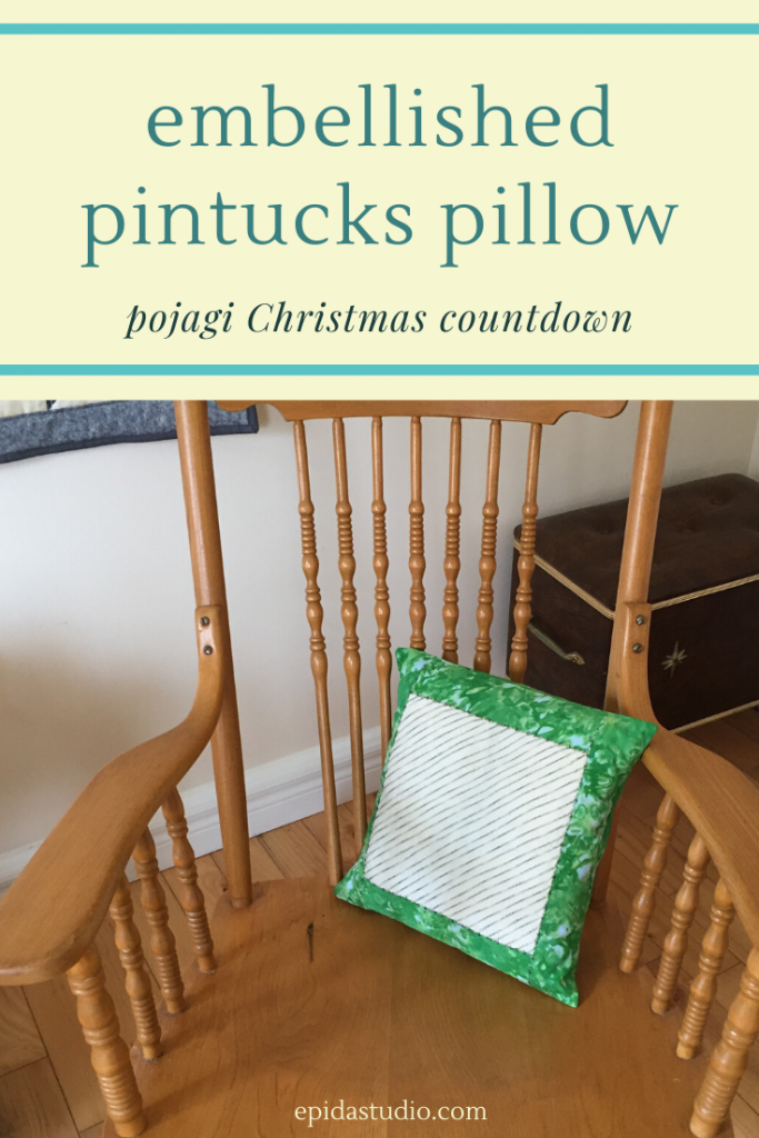 "pillow and rocking chair with title ""embellished pintuck pillow""."
