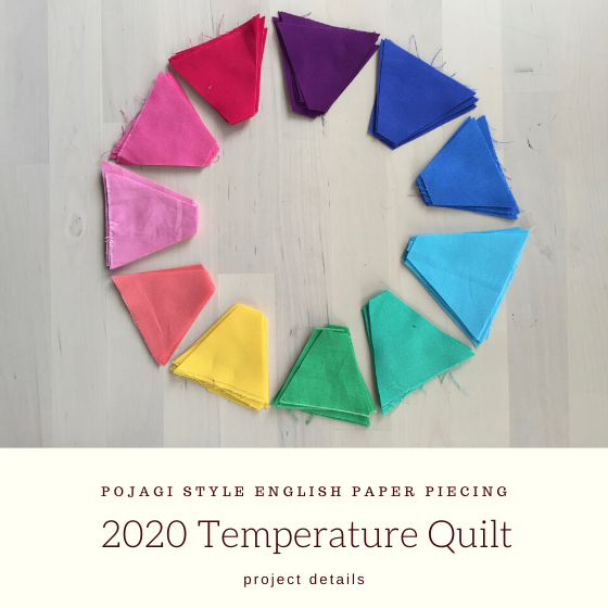 "rainbow gradient of fabrics with title ""2020 Temperature Quilt""."
