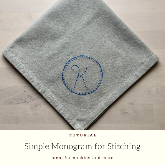 "embroidered napkin with title ""simple monogram for stitching""."