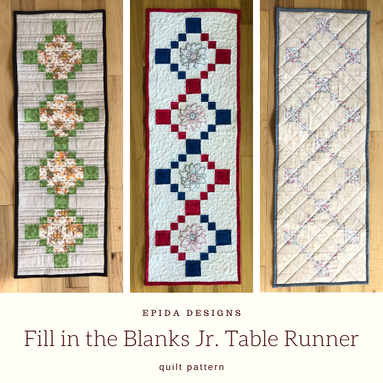 three table runners with title.