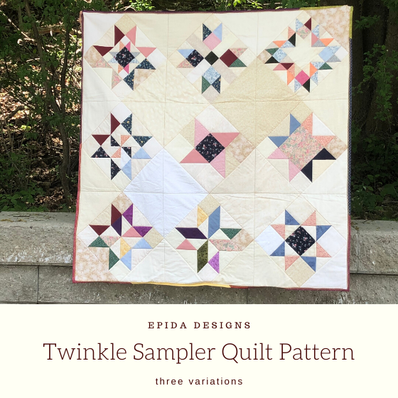 scrappy twinkle sampler quilt with title.