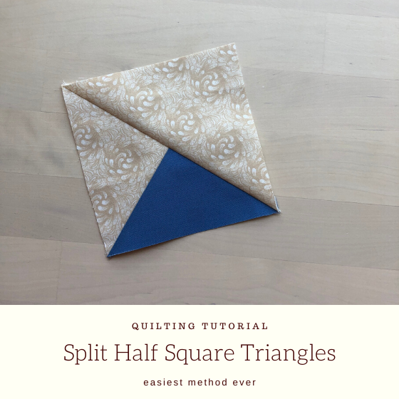 beige and blue split half square triangle with title.