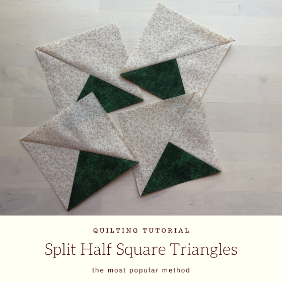 split half square triangles with title.