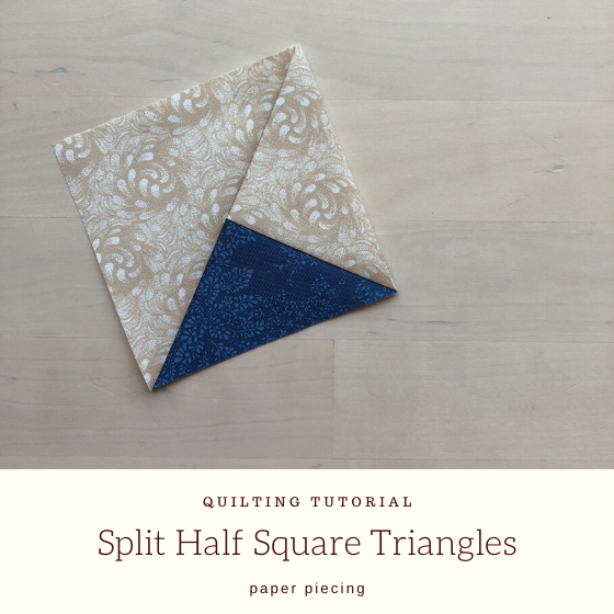 blue and white split half square triangle with title.