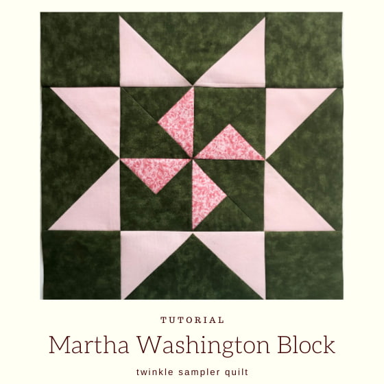 green and pink martha washington star quilt block with title.